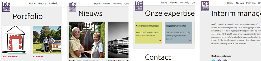 De Ridder Public Relations responsive one-page-design website