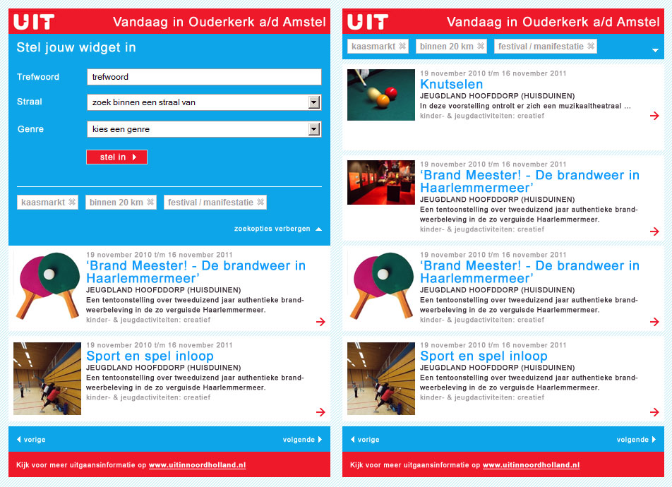 Agenda widget UIT in Noord-Holland | Tuesday Multimedia
